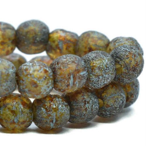 4 mm Druk Beads in Amber w/ Picasso & Etched Finish