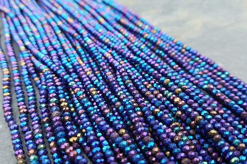 Purple Hematite - 3x2 mm Faceted Roundelles