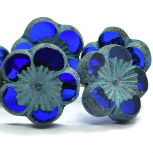 22 mm Hibiscus Flower Bead in Sapphire w/ Turquoise Wash