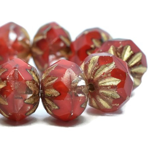 6X9 mm Crueller Ruby Red & Transparent Glass w/ Picasso & Gold Wash