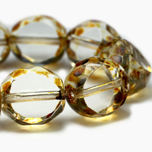 12 mm Table Cut Faceted Round Transparent w/ Picasso