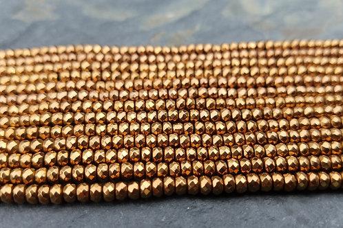 Copper Hematite - 2x3 mm Roundelles