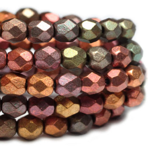 4 mm Faceted Round Firepolished Beads in Metallic Mix