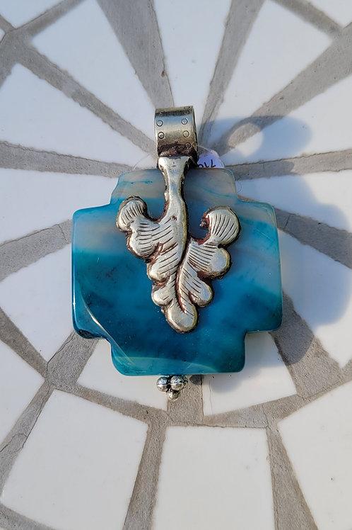 14.38x50 mm Blue Agate Pendant with Silver Tibetan design