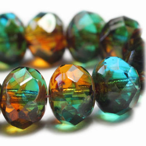 6x8 mm Rondelle - teal & Amber w/ Picasso Finish