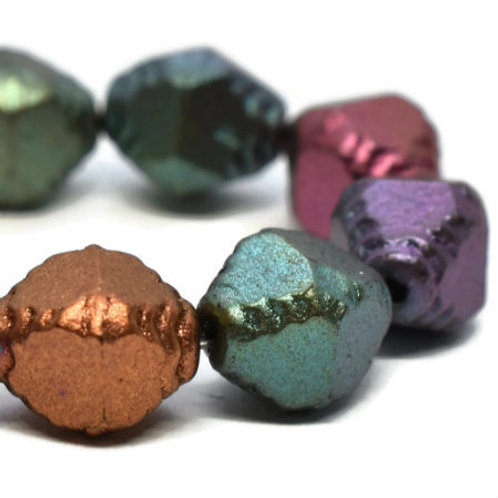 8X10 mm Faceted Bicone Metallic Mix
