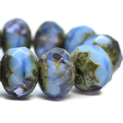 6x8mm Rondelle Cornflower and Grape with Picasso Finish