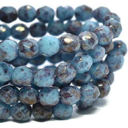 4 mm Faceted Round Firepolished Medium Sky Blue w/ Hyacinth Finish