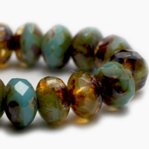 3X5 mm Rondelle - Amber & Tea Green w/ Picasso Finish