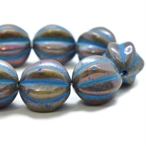 12 mm Melon - Metallic Bronze w/ Turquoise Wash