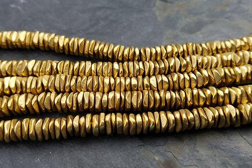 Tibetan Brass Heshi - 2x6 mm