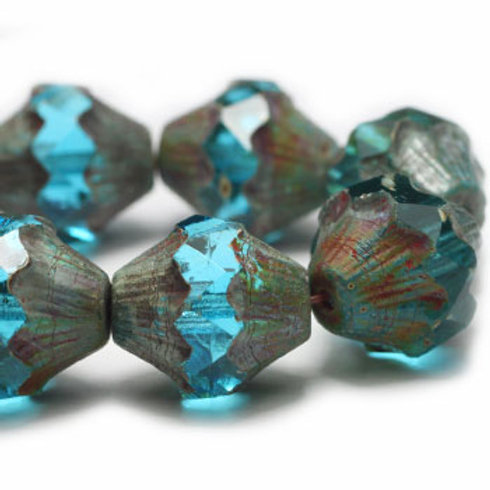 10x11mm Baroque Bicone Sky Blue with Picasso Finish