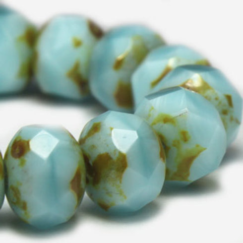 6x8mm Rondelle Sky Blue with Picasso Finish