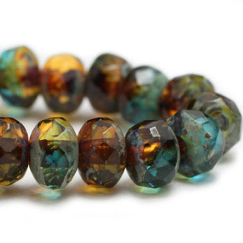 3X5 mm Rondelle - Teal & Amber with Picasso Finish