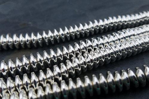 Bright Silver Hematite - 3x8 mm Saucers