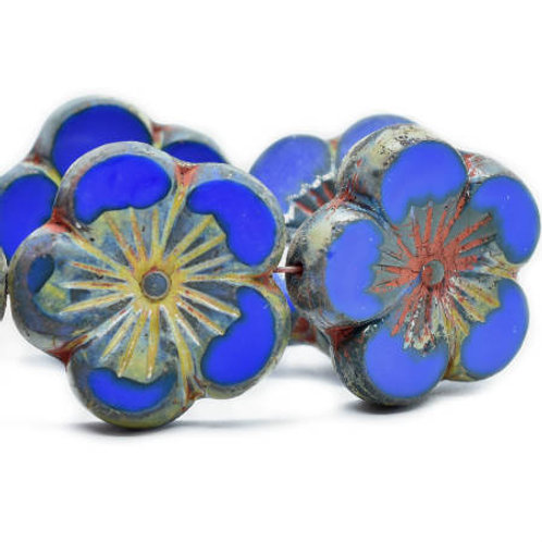 22 mm Hibiscus Flower Bead in Sapphire w/ Picasso Finish