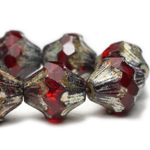 10x11mm Baroque Bicone Ruby Red with Picasso Finish