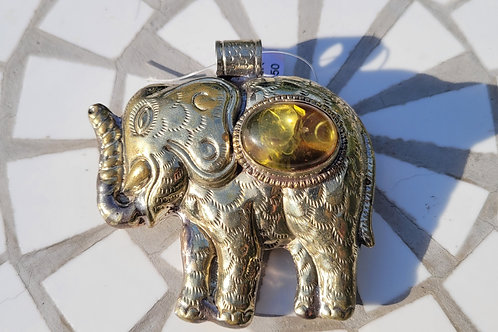 3.65x63 mm Tibetan pendant with a bezeled Amber Resin piece