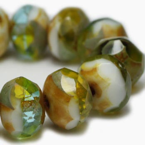 6X8 mm Rondelle - Chartreuse, Sky Blue & White w/ Picasso Finish