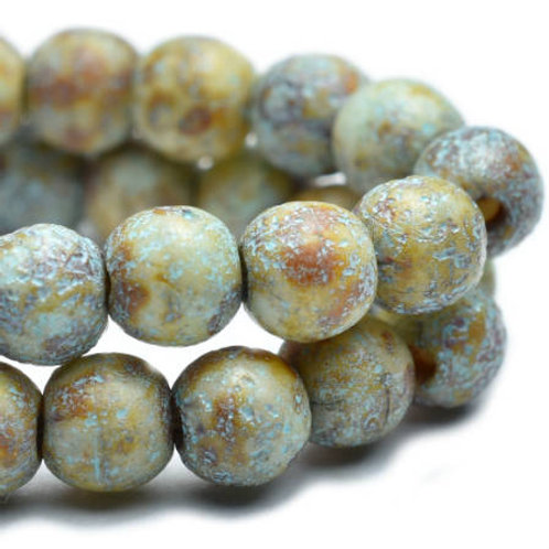 4 mm Round Druk Beads in Stone w/ Etched Finish.