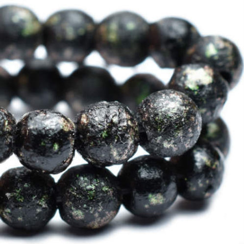 4 mm Druk Beads in Black & Matis w/ Etched Finish