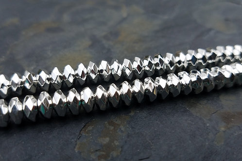 Bright Silver Hematite - 3x6 mm Faceted Roundelle
