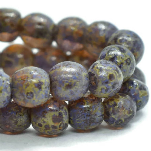 4 mm Druk Round Beads in Amber w/ Picasso & Etched Finish