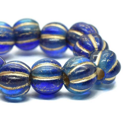 8 mm Large Hole Melon - Sapphire & Sky Blue w/ Gold Wash