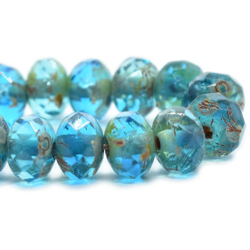 3X5 mm Rondelle - Pacific Blue with Picasso Finish
