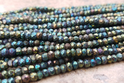 Green Pyrite - 3x4 mm Faceted Roundelle