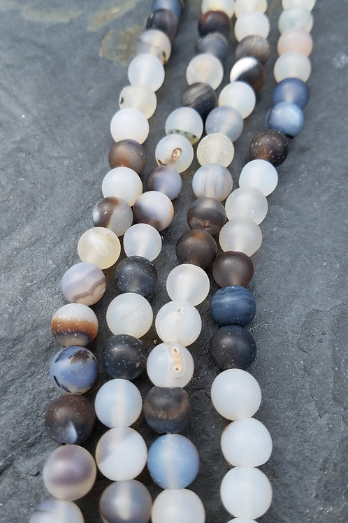 Frosted Natural Agate - 8 mm