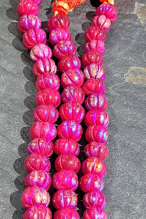 7x10 mm Magenta Quartz Melon beads