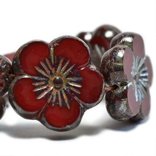 22 mm Hibiscus Flower Bead in Ruby Red w/ Picasso Finish