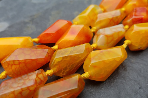 Orange Agate - 27x12 mm Faceted Nuggets