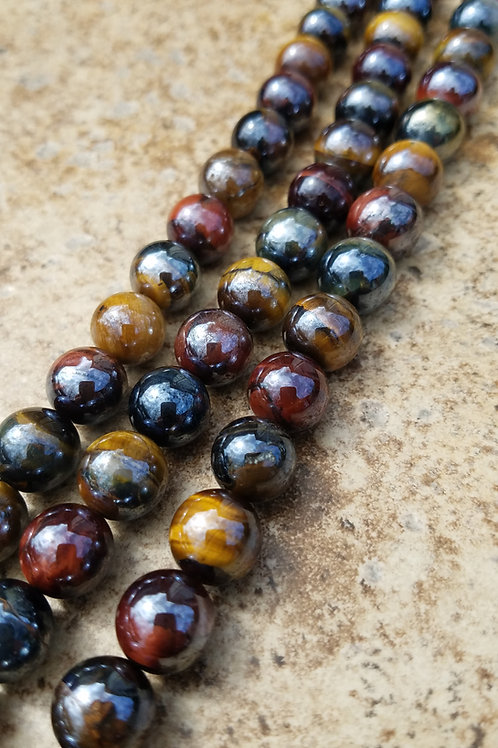 Diamond Coated Multi-colored Tigers Eye - 10 mm