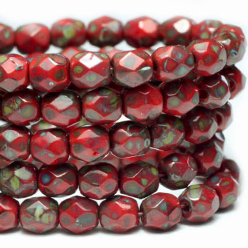 4 mm Faceted Round Firepolished Beads Scarlet w/ Picasso Finish