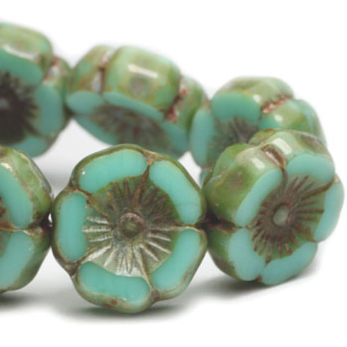 12 mm Hibiscus Flower in Sea Green w/ Picasso Finish