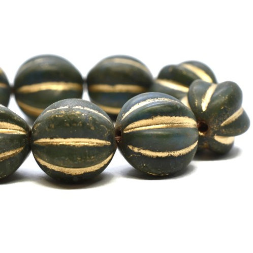 10 mm Melon - Dark Army Green w/ Etched & Picasso & Gold Wash