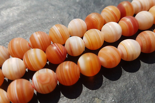 8 mm Orange Tibetan Agate