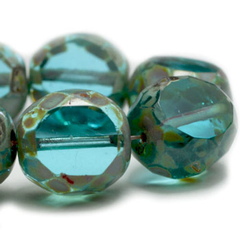 12 mm Table Cut Faceted Round Transparent Sky Blue w/ Picasso