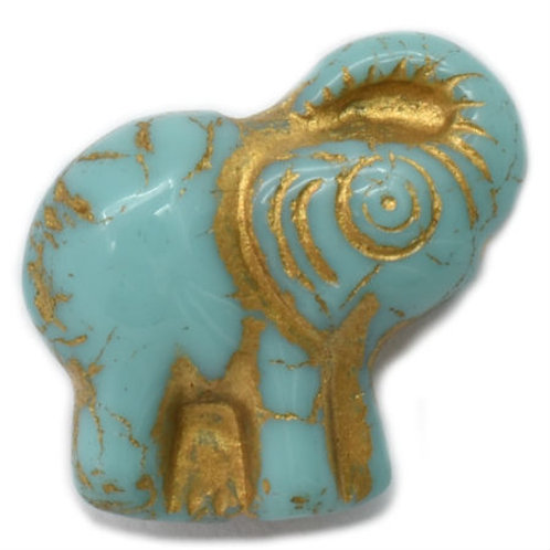 20X23 mm Elephant in Tiffany Green w/ Gold Wash