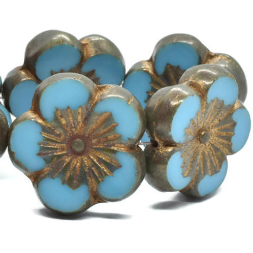 22 mm Hibiscus Flower Bead in Medium Sky Blue w/ Gold Wash