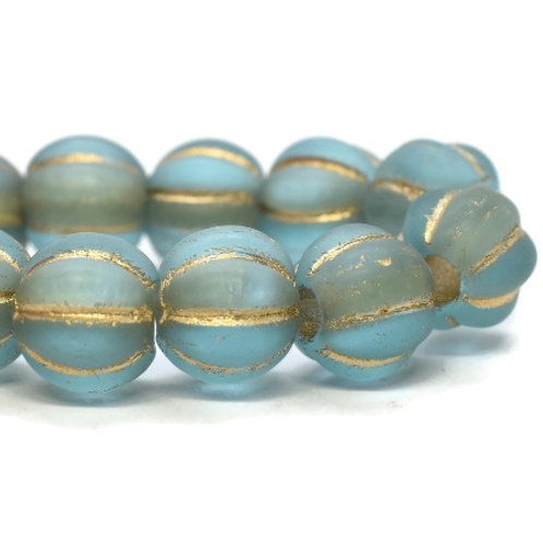 6 mm Large Hole Melon - Baby Blue with  Gold Wash