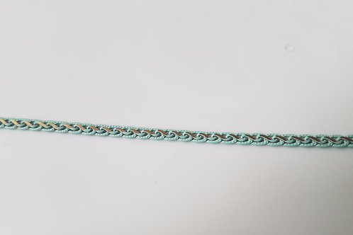 Chain - 876-TURQ - 4mm Flat Braided Two Tone Chain in Turquoise