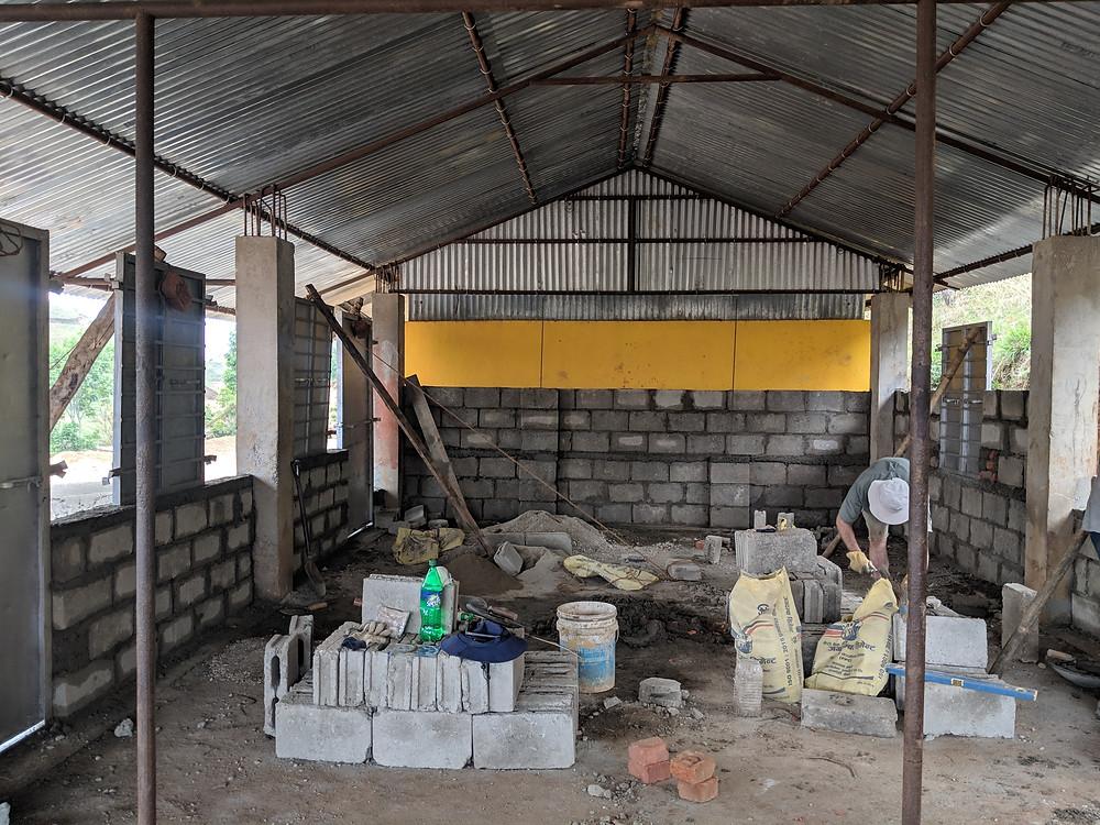 The construction site at Shree Kalika Secondary School, Banethok Syangja