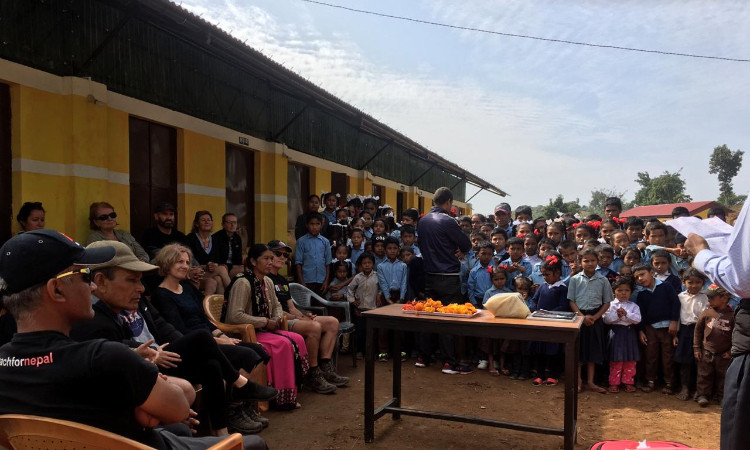 Mr Rajendra Kafle, English teacher at Shree Kalika School, Banethok Syangja delivering the farewell speech