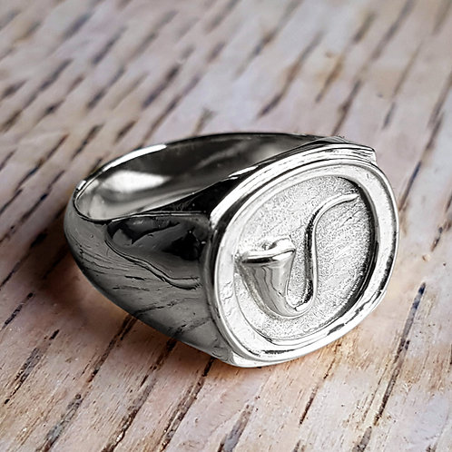 Oval Pipe Signet Ring in Sterling Silver