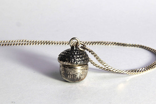Acorn pendant container in Sterling Silver