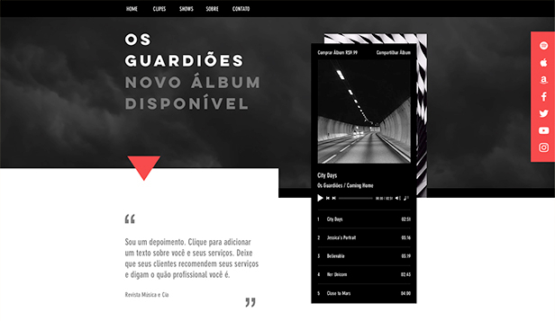 Música website templates – Uma página de rock