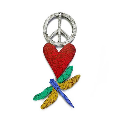 Peace/Heart/Dragonfly Magnet